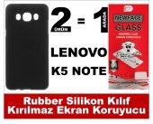 Lenovo K5 Note Rubber Lüks Silikon Kılıf+kırılmaz Cam Ekran Koruy