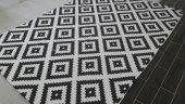#merlın01000#welsoft Mozaik Siyah Lastikli Halı Örtüsü