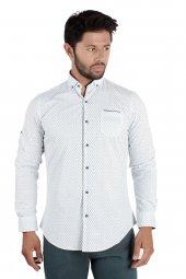 Brango 12516 10 Dar Kesim Desenli Beyaz Gömlek