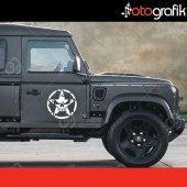 Otografik Yıpranmış Kurukafa Army Star Off Road Stıcker Set