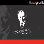 Otografik Atatürk Silüeti Oto Stıcker Ata14