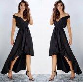 Japon Style Kadın Asimetrik V Elbise