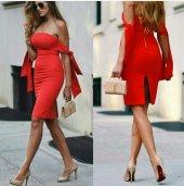 Japon Style Kadın Kırmızı Straplez Elbise