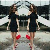 Japon Style Siyah Fır Fır Elbise
