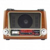 Everton Şarjlı Nostaljik Ahşap Renk Radyo Müzik Mp3 Çalar Fener U