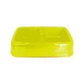 Plastik İkili Kedi Köpek Mama Su Kabı 250 + 250 Ml Sarı