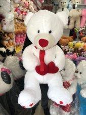 110cm Dev Boy Kalpli Büyük Boy Beyaz Peluş Ayı, Peluşcu Baba