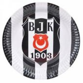 Beşiktaş Desenli Karton Tabak 23 Cm 8 Adetli