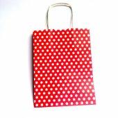 Kuşe Karton Çanta Kırmızı Puantiyeli 18x24
