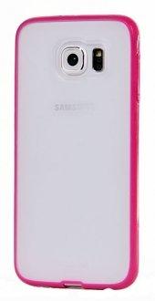 Pıpılu Samsung Galaxy S6 Pembe Silikon Şeffaf Kılıf Korumalı