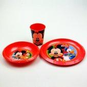 Mickey Mouse Tabak Kase Bardak Yemek Seti Plastik