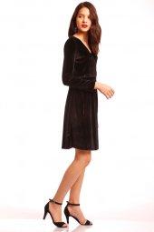 önü Çapraz Kadife Elbise Siyah 0054