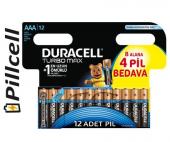 Duracell Turbo Max Aaa İnce 8+4 Pil 12&#039 Li