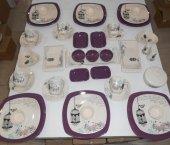 Keramika Retro Mor Kahvaltı Takımı