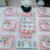 Keramika Açık Pembe Kare Butterfly Kahvaltı Takımı