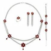 Gümüş 925 Ayar Zirkon Taşlı Çiçek Desenli Set