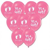 Beysüs 100 Adet Pembe It İs A Girl Baskılı Balon Latex