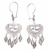 925 Ayar Gümüş Çiçek Desenli Kalp Modeli Telkari Küpe