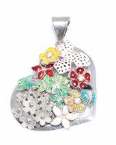 925 Ayar Gümüş Kalp Mineli Yapraklı, Uğur Böceği Ve Kelebekli Kolye Ucu