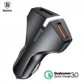 Baseus Işıklı 2 Usb Araba Oto Telefon Tablet Hızlı Şarj Cihazı 3a