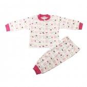 Ayıcık Desenli Çocuk Pijama Takımı Fuşya 1 3 Yaş