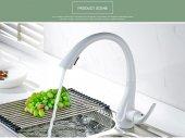 Lüks Mutfak Evye Bataryası Beyaz Gizli Spiralli