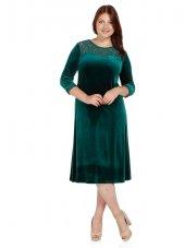 Nidya Moda Büyük Beden Roba Manşet Dantelli Yeşil Kadife Abiye Elbise 4078ky