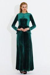 Nidya Moda Büyük Beden Peplumlu Kadife Yeşil Uzun Abiye Elbise 4044y