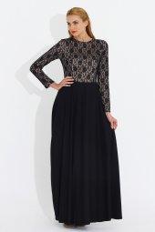 Nidya Moda Büyük Beden Üst Dantelli Uzun Abiye Siyah Elbise 4045s