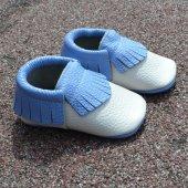 Klasik Makosen Bebek Ayakkabı Bej Mavi Cv 80