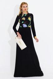Nidya Moda Büyük Beden Pili Yaka Üst Bahar Kombin Uzun Abiye Siyah Elbise 4046s