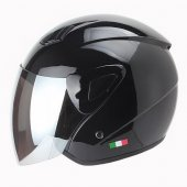 Parlaksiyah Renk Motosiklet Kaskı Sway Yarım Kask