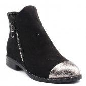 Ayakland 7105 Siyah Süet Fermuarlı Bayan Bot Ayakkabı