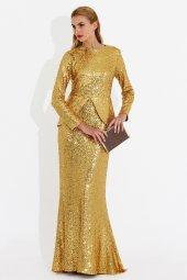 Nidya Moda Büyük Beden Peplumlu Pullu Payet Balık Dore Uzun Abiye Elbise 4047d