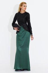 Nidya Moda Büyük Beden Peplum Pullu Payet Siyah Ceket Tunik 5010s
