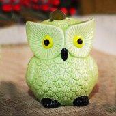 Dekoratif Seramik Baykuş Kumbara Yeşil