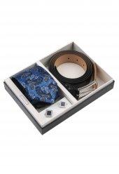 Mavi Kravat Kemer Kol Düğmesi Erkek Hediye Seti Kkk153