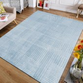 Düz Renk Halı Mavi Renk Kaymaz Taban Modern Desen İ S22 180x280