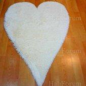 Post Halı Tavşan Tüyü Kalp Kesim Doğuş Post Halı Beyaz 140x200