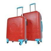 Benetton 2lü Orta Ve Kabin Boy Kırmızı Set Sert Valiz Seti 0159