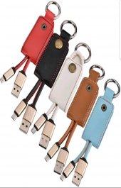 Deri Anahtarlıklı Xiaomi Şarj Kablosu Micro Usb Powerbank Şarj Al