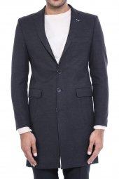 Ceket Yaka Diz Üstü Siyah Palto