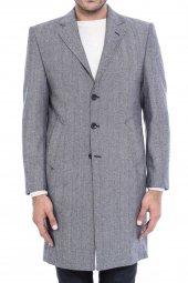 Ceket Yaka Diz Üstü Gri Palto
