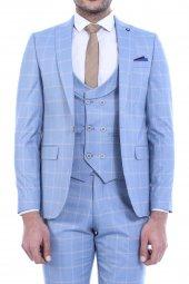 Tek Düğme Sivri Yaka Yelekli B.mavi Takım Elbise
