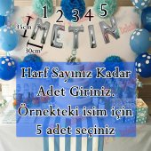 35cm Gümüş Gri Folyo Harf Balondan İsim Yazma, Uçan İsim Balon