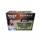Meier M 115bt Klasik Ahşap Nostaljik Radyo Taşınabilir Bluetooth