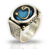 Besen Gümüş 925 Ayar Gümüş Mavi Mineli Vav Model Özel Tasarım Yüzük