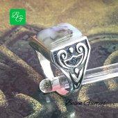Besen Gümüş Yemen Akik Taşlı Gümüş Erkek Yüzük