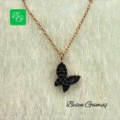 Besen Gümüş Oniks Taşlı Kelebek Kolye