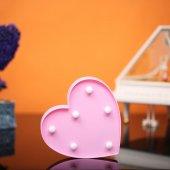 Kalp Tasarımlı Pembe Renkli Ledli Gece Lambası